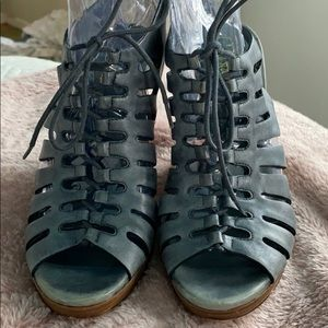 Cole Haan peep toe lace up booties 9